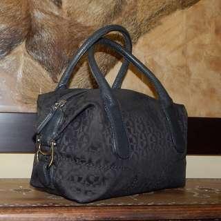 E. AIGNER black jacquard logo & leather mini bag