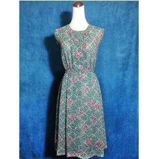 乒乓古著 vintage 綠色紅花洋裝