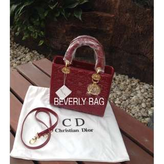 jual tas Lady Dior Pattnet 23cm LEATHER MIRROR - maroon