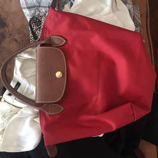 Longchamp Small Le Pliage in Red (BARELY USED)