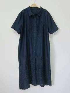 🚚 深藍色刺繡鏤空襯衫款連身裙