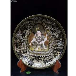 [舊時光] 中國瓷器 清乾隆禦制 琺瑯彩 鎏金 唐卡 菩薩盤