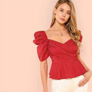 Vintage Red polka blouse 💘