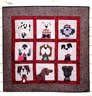 "New Patchwork pattern ""Gone to the dogs"" from the USA, limited availability, free postage, applique, wall hanging, quilt, quilted bag, intructions"