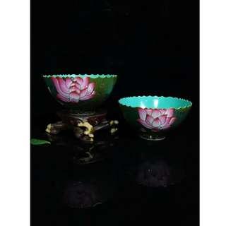 [舊時光] 中國瓷器 清雍正年 掐絲琺瑯彩 荷花紋 花邊碗