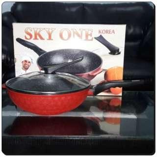 Wajan Bagus Anti Lengket Wok Pan Marble 30cm Sky One