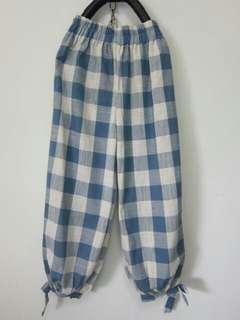 🚚 韓版淺藍格子鬆緊綁帶休閒褲