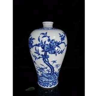 [舊時光] 中國瓷器 清乾隆年 青釉 福壽桃紋梅