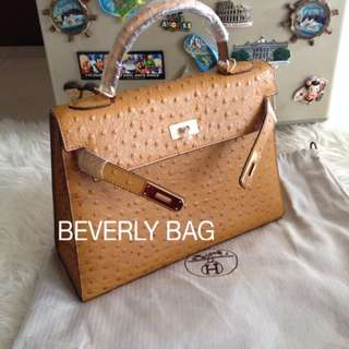 jual tas HK Ostrich LEATHER MIRROR - camel