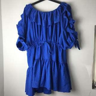 🚚 藍色平口洋裝