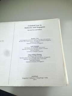 Criminal Law in Malaysia and Singapore By Stanley Yeo, Neil Morgan and Chan Wing Cheong