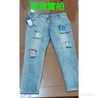 🚚 韓劇偶像同款伸縮七分牛仔褲社團零號一件尺寸腰圍27臂圍36褲長72