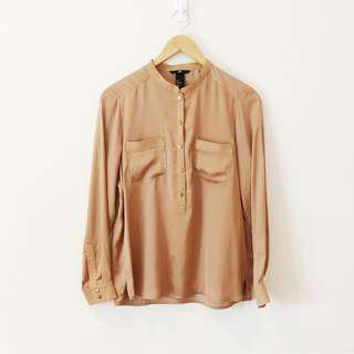 H&M Champagne Satin Button Down Shirt