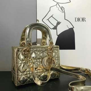 Lady Dior Mini Gold Metallic Color
