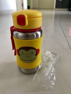 "USED SKIP HOP STAINLESS BOTTLE, DESIGN MONKEY, USED ONCE MINT CONDITION, COMES WITH EXTRA SET OF NEW STRAWS, FAST DEAL ""15.00"""