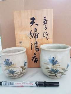 Ceramic Japanese husband & wife cups with wooden box