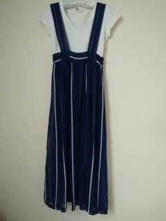 🚚 PSGB夏日藍底白條雪紡吊帶洋裝 #女裝半價拉