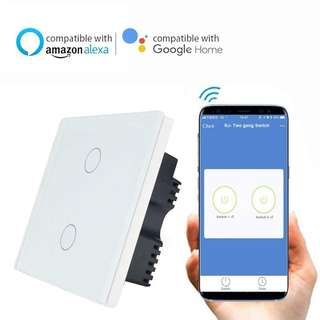 1400. Knaclean Smart WIFI Touch Switch, Work with Amazon Alexa, Wireless 2 Gang Wall Touch Switch with Remote, No Hub Required Via APP eWeLink, Support IOS and Android