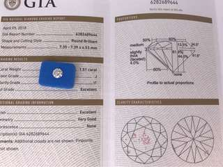 GIA 鑽石 1.51ct J  I1  EX/EX/VG  N