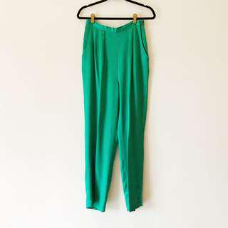 Vintage Emerald Green High Waisted Satin Tapered Trousers