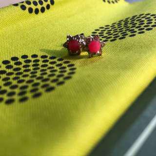 [90%NEW] 粉紅色小顆耳環 pink earrings