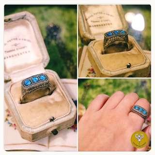 Art deco純銀蛋白石戒指