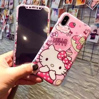 Hello Kitty iPhone Case + screen set 手機殻 鋼化玻璃保護貼 軟殻可愛卡通