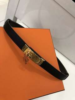 Hermes Kelly belt black gold
