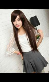 PREORDER natural long side fringe straight ladies wig * waiting time 15 days after payment is made *Chat to buy if int