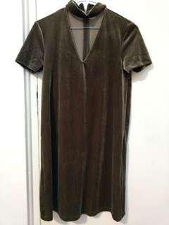 Khaki velvet T-Dress
