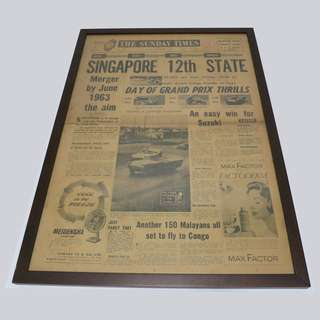 Rare vintage framed Straits Times frontpage from 1961 - with Singapore 12th State headline