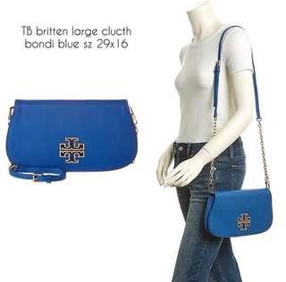 TB britten large clucth bondi blue sz 29x16