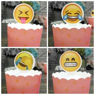 BN Happy Lovey Smilies Emoticon Cupcake Muffin Cake Toppers