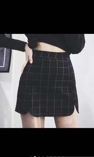 歐美 高腰格子 花瓣包裙 包臀裙