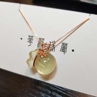 【黃水晶 小錢袋吊墜(純銀)】