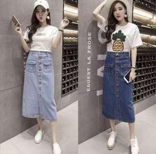 🚚 ✨日韓美著✨不敗經典顯瘦牛仔長裙 jeans skirt