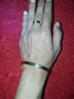 Gelang&cincin cartier gold 1set
