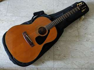 Yamaha FG-75 Vintage Acoustic Steel String Guitar Black Label Made in Taiwan Republic of China