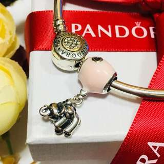 Authentic Pandora Charm Elephant and Pink Balloon Charm Dangle Pendant Italy Sterling Silver 92.5 (CHARMS ONLY)