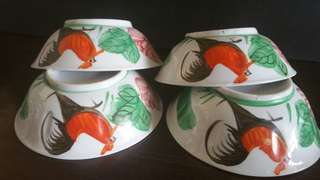 🌿🏵🐓Vintage Porcelain Cockerel Bowl x 4pcs🐓🏵🌿