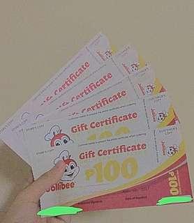 Jollibee Gift Certificates