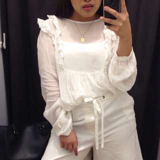 h&m white ruffles baby long sleeves top