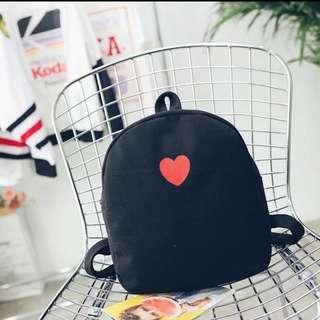 Korean Stylish Canvas Sweet Love Heart Black Backpack Bag