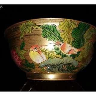 中國瓷器 乾隆禦制 唐英款 鎏金四季花鳥紋碗