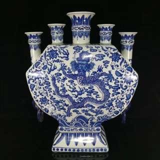 中國瓷器 清乾隆年 青花龍紋 五口扁瓶