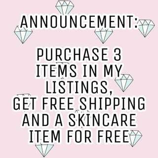 BUY 3 GET FREE SHIPPING AND SKINCSRE ITEMS