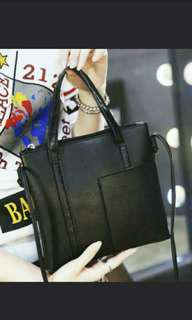 2 Way Black Small Sling Bag With Side Pocket