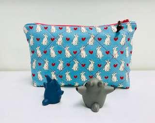 Handmade Rabbit Print Pouch