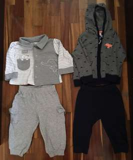 Baby boy set carters baby set baby joggers baby pants baby shirt baby hooded jacket baby outerwear (bundle set of 4)