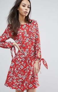 New Look Tall red floral skater dress